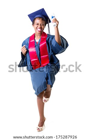 Celebrating successful graduation - stock photo