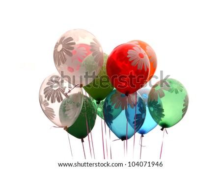 Celebration Balloons Isolated on White Background - stock photo