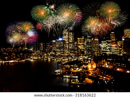 Celebration firework in the city . - stock photo
