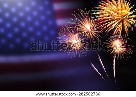 celebration fireworks . 4th of July. Independence Day - stock photo