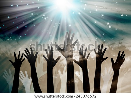 Celebration.Hands reaching in the sky with stars background - stock photo
