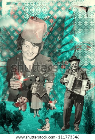 Celebration in the Heart of Paradise - (for this photo collage are used black and white photographs of people from 1950, 1955, 1970) - mixed media, collage (cool green colors) - stock photo
