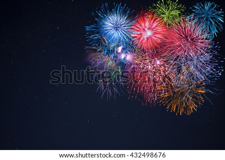 Celebration multicolored fireworks, copy space. 4 of July, 4th of July, Independence Day beautiful fireworks. Canada Day holidays salute. New Year celebration colorful fireworks.  - stock photo