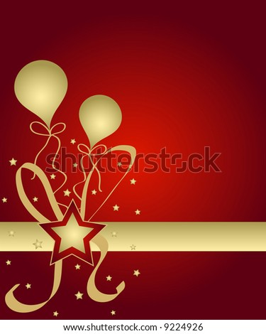 Celebration stars and balloons in red and golden colors - stock photo