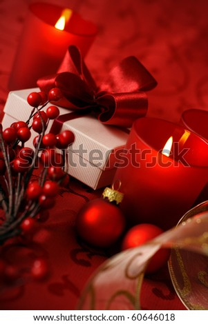 celebration table - christmas greeting card with decorative red ornaments - stock photo