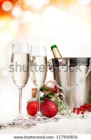 Celebration theme with champagne wine - stock photo