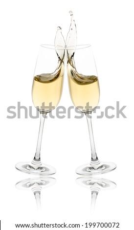 Celebration toast with champagne flutes. - stock photo