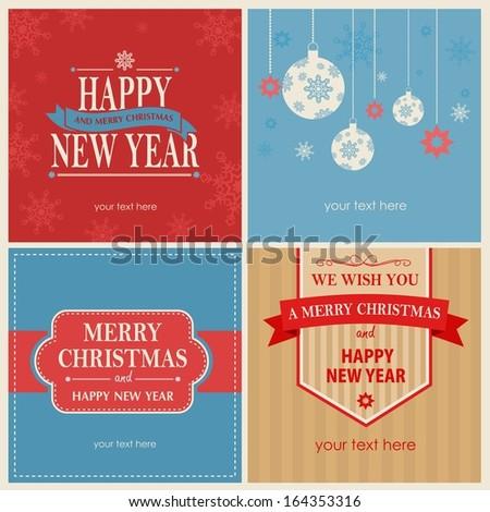 celebration vintage cards with xmas symbols  - stock photo