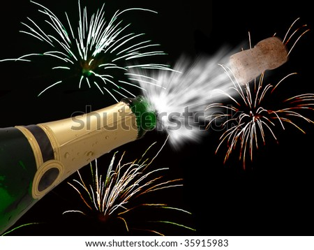 Celebration with champagne on party - happy new year - cool black background - stock photo