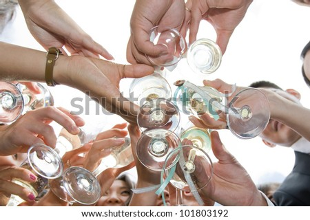 celebration with hands holding - stock photo