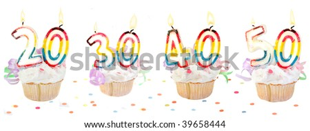 Celebratory birthday cupcakes with lit candles and numbers like twenty, thirty, forty, and fifty with confetti - stock photo