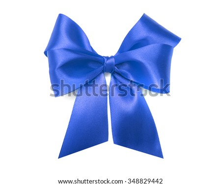 Celebratory blue bow on a white background.