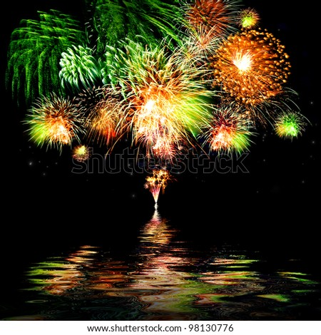 Celebratory bright firework - stock photo