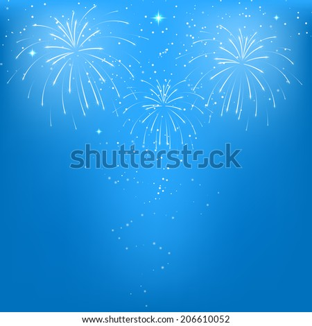 Celebratory fireworks on a blue background.  Raster copy - stock photo