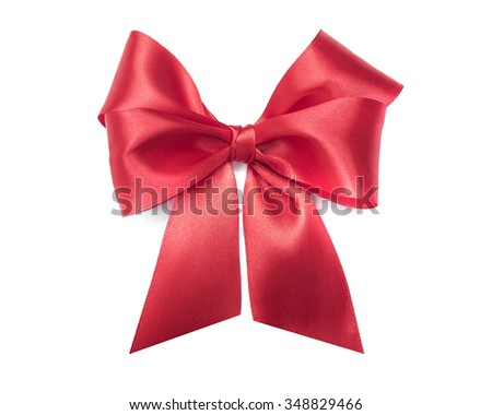 Celebratory red bow on a white background.