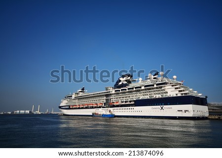 Celebrity Millennium - YOKOHAMA, JAPAN - MAY 5, 2014 Celebrity Millennium is the flagship of the Millennium-class cruise ships, operated by Celebrity Cruises line. - stock photo