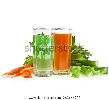 Celery and carrot juice isolated on white background - stock photo