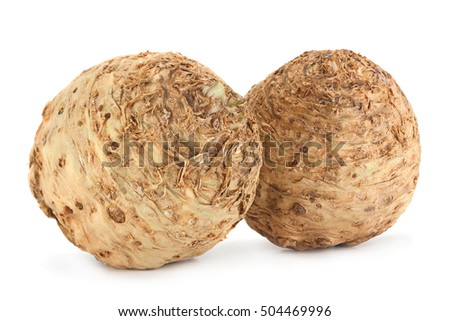 Celery root closeup isolated on white background