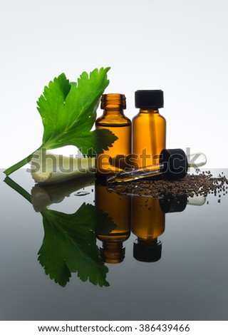 Celery seeds essential oil in amber bottle with dropper, with celery stick, seeds and leaf. - stock photo