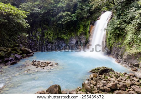 Celeste River in Tenorio Volcano National Park of Costa Rica - stock photo