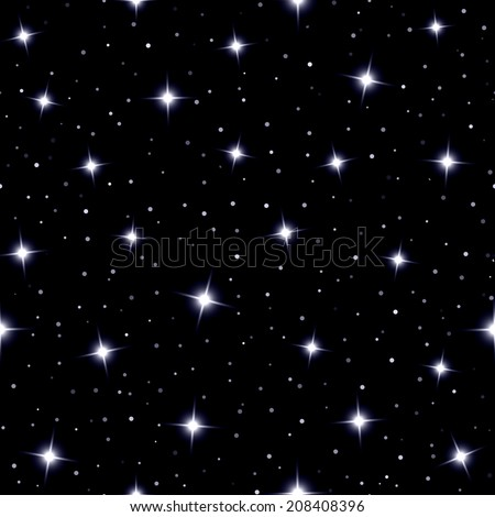 Celestial seamless background with sparkling stars glittering on a dark blue sky  in the night - stock photo