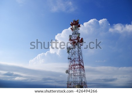 cell broadcast tower in front of thunderstorm - stock photo