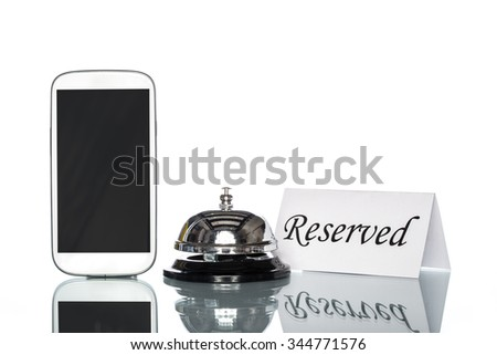 cell phone and Service bell on white background, reserved