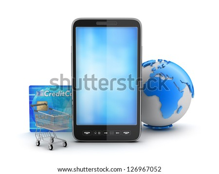 Cell phone, credit card, shopping cart and earth globe - stock photo