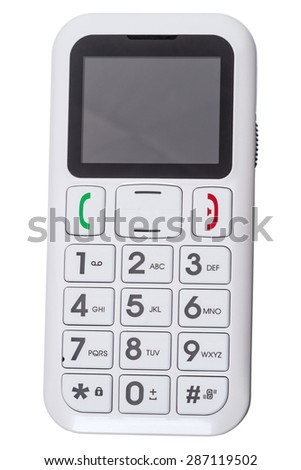 Cell phone for seniors with large buttons  isolated on white background - stock photo