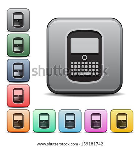 Cell Phone Icon Square Icon Set with Color Variations.  Raster version. - stock photo