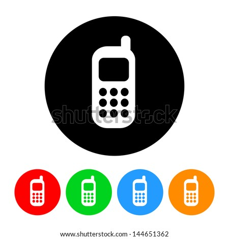 Cell Phone Icon with Color Variations.  Raster version, vector also available. - stock photo