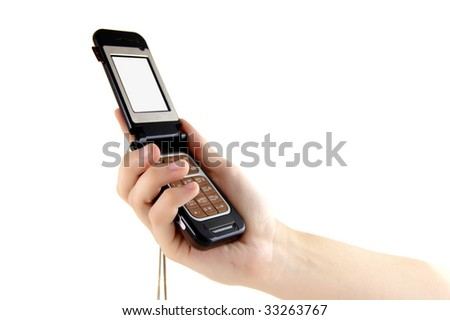 cell phone in hand - stock photo