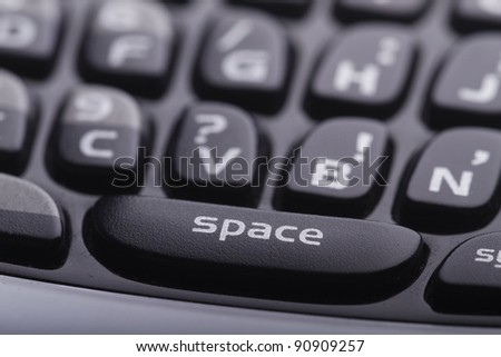 Cell phone keyboard close up