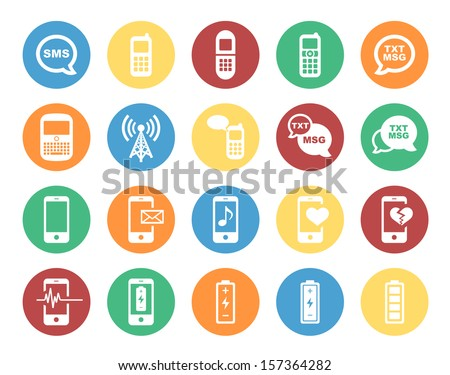 Cell Phone / Mobile Phone Circle Icon Set. Raster version. - stock photo
