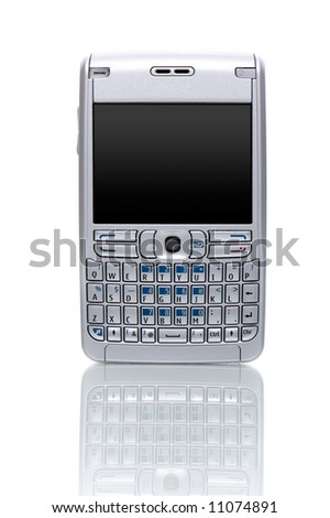 Cell phone on white background - stock photo