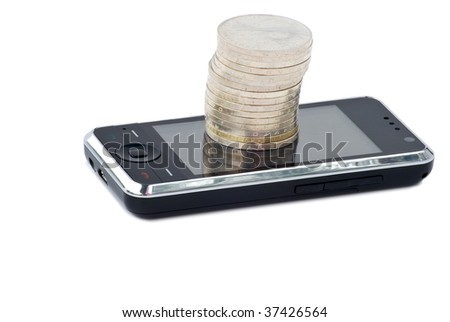 Cell phone, stack of coins concept e-commerce and payment for communication. Isolated on white background. - stock photo