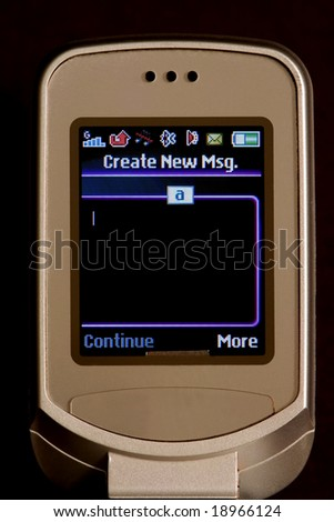 Cell phone text screen - stock photo