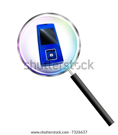 Cell phone under magnifying glass
