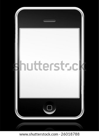 Cell phone with touch screen - stock photo