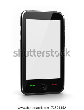 Cell phone with white screen isolated - stock photo