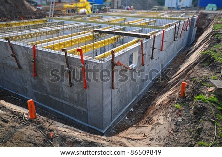 Cellar construction Construction site with the unfinished cellar part