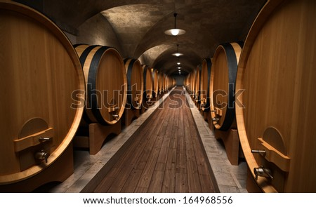 cellar with wooden barrels - stock photo