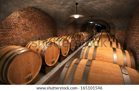 cellar with wooden barrels II - stock photo