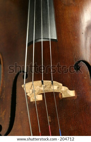 Cello detail with the f holes and bridge showing - stock photo