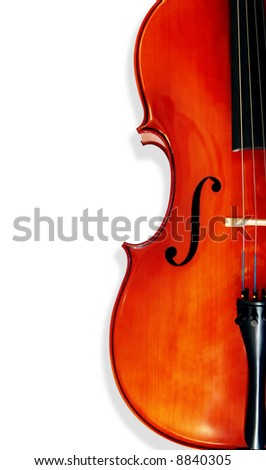 Cello, isolated on white with shadow.  Musical instrument could be violin.