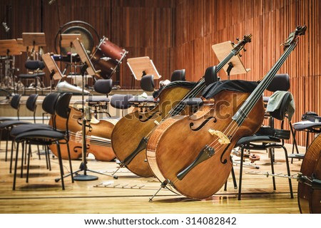 Cello Music instruments on a stage - stock photo