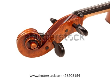 cello scroll isolated on white