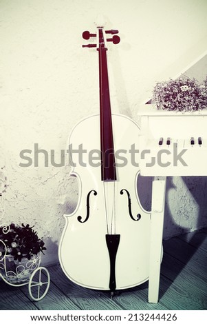 Cello standing in front on a piano White - stock photo
