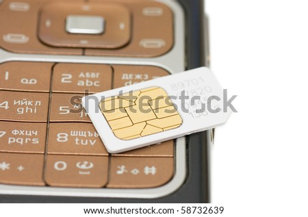 cellphone and sim card  isolated on white background - stock photo