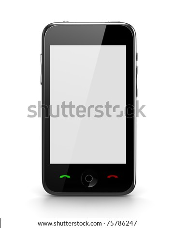 Cellphone front view with white screen  * - stock photo